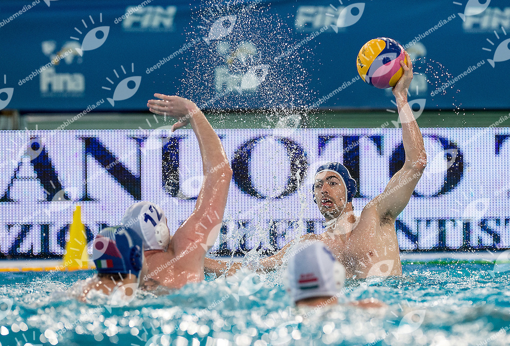 8 Alessandro NORA ITA <br /> FINA Men's Water polo Olympic Games Qualifications Tournament 2016<br /> Final 1st place<br /> Hungary HUN (White) Vs Italy ITA (Blue)<br /> Trieste, Italy - Swimming Pool Bruno Bianchi<br /> Day 08  10-04-2016<br /> Photo G.Scala/Insidefoto/Deepbluemedia