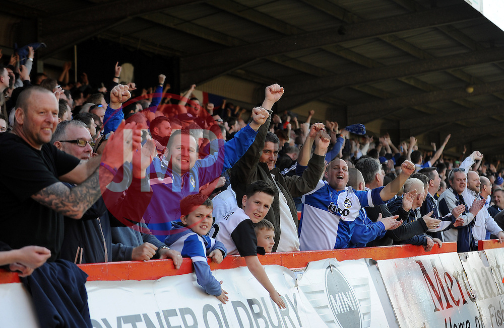 Bristol Rovers fans celebrate  - Photo mandatory by-line: Neil Brookman/JMP - Mobile: 07966 386802 - 06/04/2015 - SPORT - Football - Kidderminster - Aggborough - Kidderminster v Bristol Rovers - Vanarama Football Conference