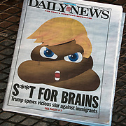 Humorous political newpaper cover headlines about  President Trump newest actions.<br /> Daily News Headlines -&quot; S**T For Brains&quot; Trump spew vicious slur against immigrants&quot;