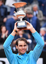 ROME, May 20, 2019  Rafael Nadal of Spain poses with the trophy after winning the men's singles final match against Novak Djokovic of Serbia at the Italian Open Tennis tournament in Rome, Italy, May 19, 2019. Rafael Nadal won 2-1. (Credit Image: © Alberto Lingria/Xinhua via ZUMA Wire)