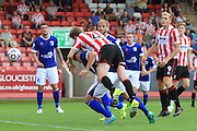 Kyle Storer scores his goal during the Vanarama National League match between Cheltenham Town and Barrow at Whaddon Road, Cheltenham, England on 22 August 2015. Photo by Antony Thompson.