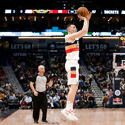 Mar 24, 2019; New Orleans, LA, USA; New Orleans Pelicans guard Dairis Bertans (9) shoots against the Houston Rockets during the second half at the Smoothie King Center. Mandatory Credit: Derick E. Hingle-USA TODAY Sports
