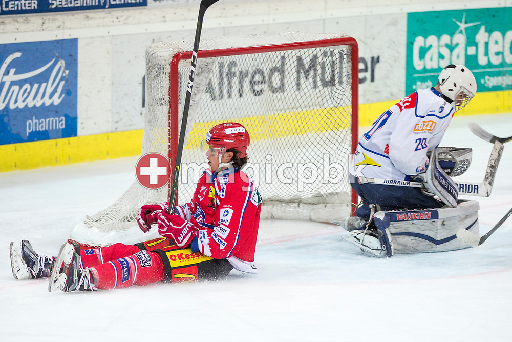 Rapperswil-Jona Lakers forward Manuel Laimbacher (L) and ZSC Lions goaltender Patrick Frey are pictured during the fifth Elite B Playoff Final ice hockey game between Rapperswil-Jona Lakers and ZSC Lions held at the SGKB Arena in Rapperswil, Switzerland, Sunday, Mar. 19, 2017. (Photo by Patrick B. Kraemer / MAGICPBK)
