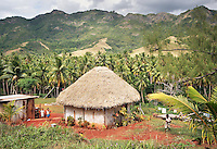 A traditional village bure style house in Fiji.