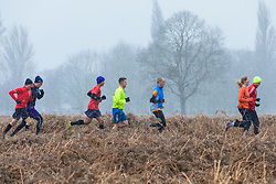 © Licensed to London News Pictures. 17/03/2018. London, UK. Runners in Bushy Park brave the cold weather as more snow falls over the capital. Photo credit: Rob Pinney/LNP