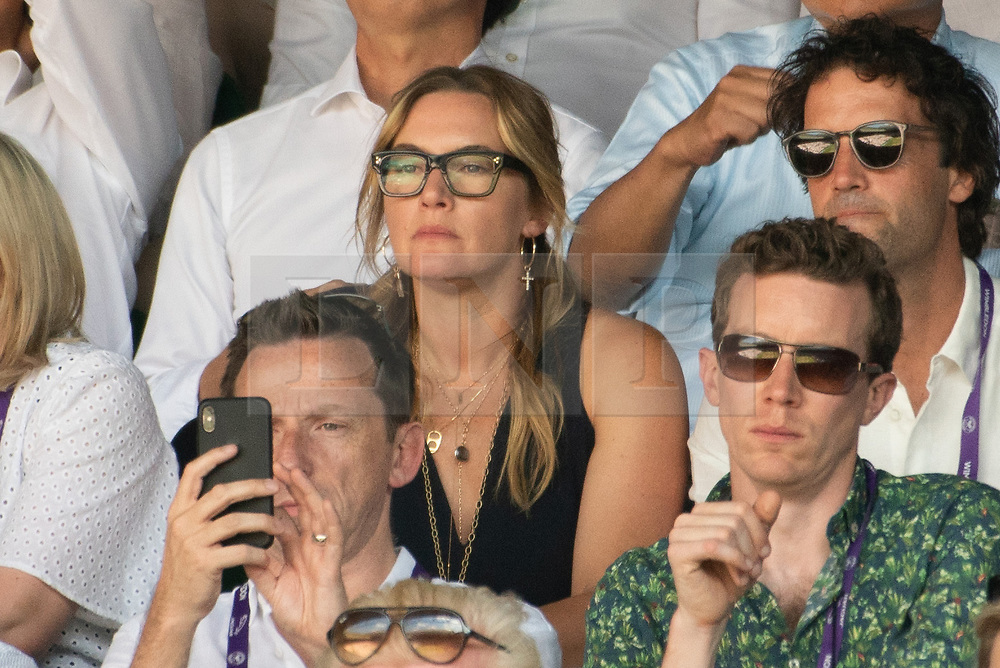 © Licensed to London News Pictures. 15/07/2018. London, UK. Actress Kate Winslet watches the Wimbledon tennis men's singles finals championships 2018 held at the All England Lawn Tennis and Croquet Club. Photo credit: Ray Tang/LNP