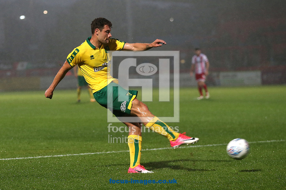 Yanic Wildschut of Norwich has a shot on goal during the Pre-season Friendly match at the Lamex Stadium, Stevenage<br /> Picture by Paul Chesterton/Focus Images Ltd +44 7904 640267<br /> 11/07/2017