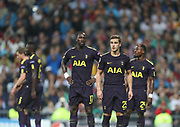 Tottenham players disappointed during the Champions League match between Real Madrid and Tottenham Hotspur at the Santiago Bernabeu Stadium, Madrid, Spain on 17 October 2017. Photo by Ahmad Morra.