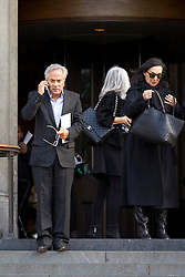 © Licensed to London News Pictures. 12/10/2012. LONDON, UK. Sculptor Anish Kapoor (L) is seen leaving St Paul's Cathedral after a memorial service for hairdresser Vidal Sassoon in London today (12/10/12) . Photo credit: Matt Cetti-Roberts/LNP
