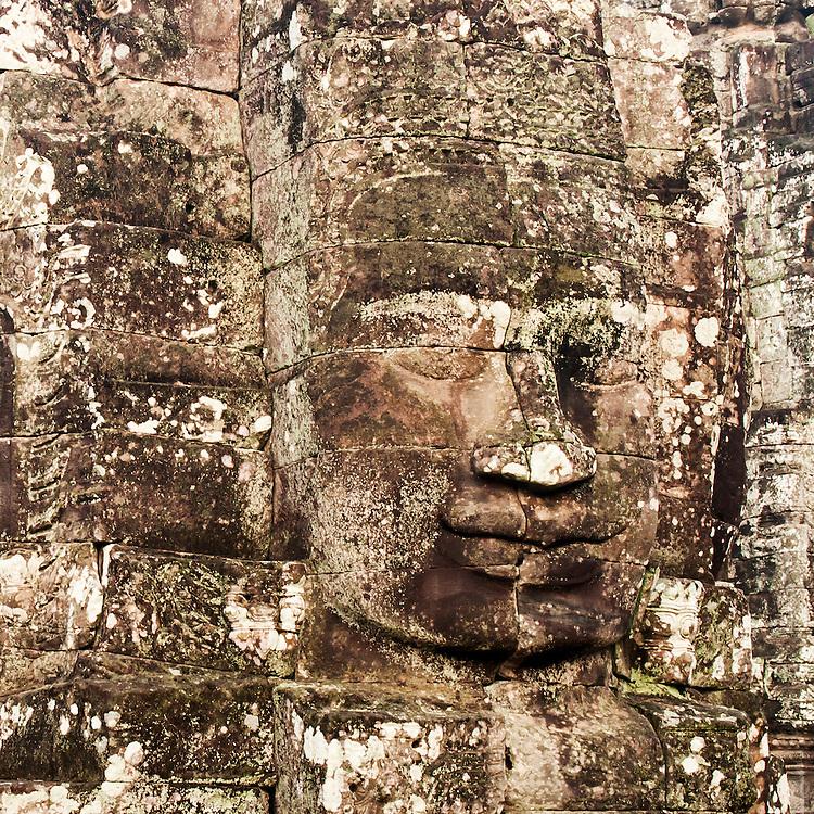 Carved Heads At Bayon Temple, Angkor Thom, Cambodia