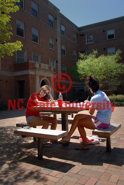 Students study outside Owen Residence Hall on a sunny Spring day. PHOTO BY ROGER WINSTEAD