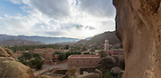 TAFRAOUTE, MOROCCO - MAY 27TH 2016 - Tafraoute Napoleons Hat Landscape and Mosque (view taken from Napoleons Hat), Anti Atlas Mountains, Souss Massa Draa, Anti Atlas Mountains, Southern Morocco.