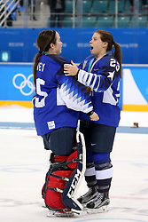 February 22, 2018 - Gangneung, South Korea - (L-R) MADDIE ROONEY and SIDNEY MORIN celebrate with the USA team after winning the Ice Hockey: Women's Gold Medal Game against Canada at Gangneung Hockey Centre during the 2018 Pyeongchang Winter Olympic Games.  (Credit Image: © Jon Gaede via ZUMA Wire)