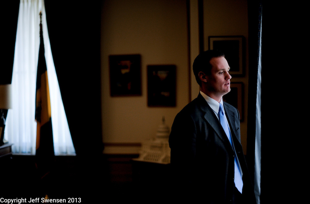 PITTSBURGH-OCTOBER 21: Pittsburgh Mayor Luke Ravenstahl in his office in the City-County Building. Ravenstahl, became mayor at the age of 27 and is attempting to retain his office for the 2nd time in his career.