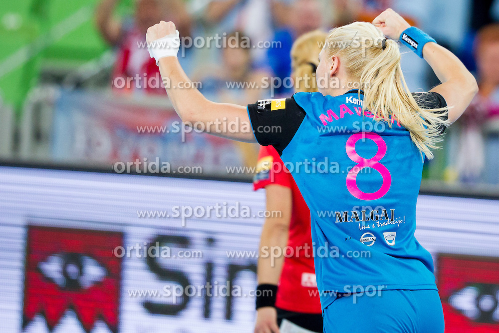 Tamara Mavsar of RK Krim Mercator celebrates during handball match between RK Krim Mercator (SLO) and HCM Baia Mare (ROM) in 1st Round of Women's EHF Champions League 2015/16, on October 16, 2015 in Arena Stozice, Ljubljana, Slovenia. Photo by Urban Urbanc / Sportida