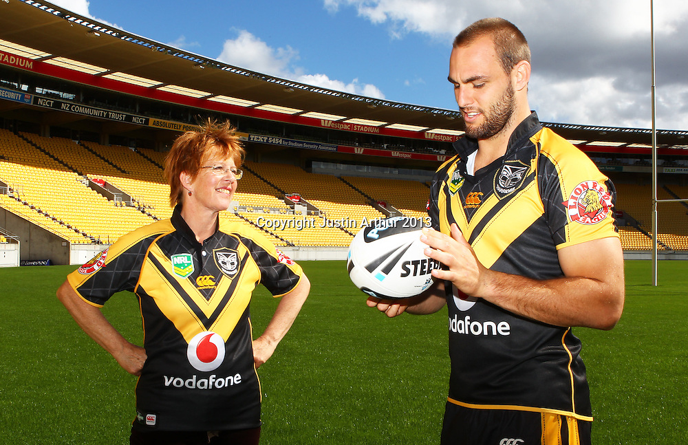 Celia Wade-Brown Mayor of Wellington and Simon Mannering .Vodafone Warriors in Wellington - Vodafone Warriors hold a press conference in Wellington ahead of their clash with the Bulldogs on Saturday 11 May 2013. Westpac Stadium, Wellington, New Zealand on 20 March 2013. Photo: Justin Arthur / photosport.co.nz