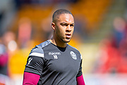Charles Dunne (#18) of Motherwell FC warms up before the Ladbrokes Scottish Premiership match between St Johnstone and Motherwell at McDiarmid Stadium, Perth, Scotland on 11 May 2019.