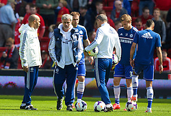 27.04.2014, Anfield, Liverpool, ENG, Premier League, FC Liverpool vs FC Chelsea, 36. Runde, im Bild A nervous looking Chelsea manager Jose Mourinho on the pitch // during the English Premier League 36th round match between Liverpool FC and Chelsea FC at Anfield in Liverpool, Great Britain on 2014/04/27. EXPA Pictures &copy; 2014, PhotoCredit: EXPA/ Propagandaphoto/ David Rawcliffe<br /> <br /> *****ATTENTION - OUT of ENG, GBR*****