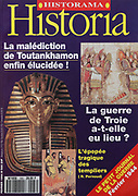 Front cover of issue no. 566 of Historia, a monthly history magazine, published February 1994, featuring articles on the curse of Tutankhamon and the Trojan War. Historia was created by Jules Tallandier and published 1909-37 and again from 1945. Picture by Manuel Cohen