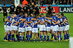 The Namibia team huddle together prior to kick-off - Mandatory byline: Patrick Khachfe/JMP - 07966 386802 - 24/09/2015 - RUGBY UNION - The Stadium, Queen Elizabeth Olympic Park - London, England - New Zealand v Namibia - Rugby World Cup 2015 Pool C.