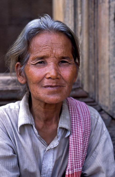 Portrait of elderly woman at Bantaey Srei, Angkor temples, Cambodia