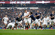 Ben Youngs of England is tackled by Greg Laidlaw of Scotland during the RBS 6 Nations match at Twickenham Stadium, Twickenham<br /> Picture by Andrew Tobin/Focus Images Ltd +44 7710 761829<br /> 14/03/2015