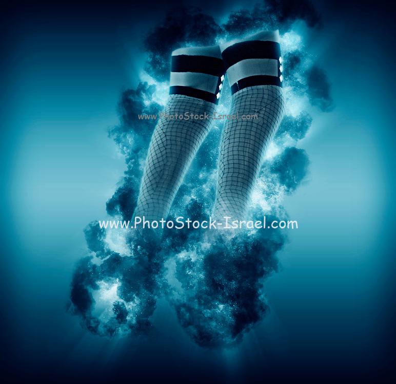Digitally enhanced image of plastic legs in fishnet stockings