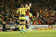 Burnley defender Michael Duff and Burnley goalkeeper Thomas Heaton celebrate Burnley forward Sam Vokes opening goal during the Sky Bet Championship match between Burnley and Milton Keynes Dons at Turf Moor, Burnley, England on 15 September 2015. Photo by Simon Davies.