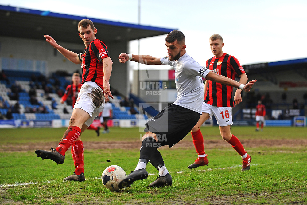 TELFORD COPYRIGHT MIKE SHERIDAN Jack Storer of Telford  during the Vanarama Conference North fixture between AFC Telford United and Kettering at The New Bucks Head on Saturday, March 14, 2020.<br /> <br /> Picture credit: Mike Sheridan/Ultrapress<br /> <br /> MS201920-050