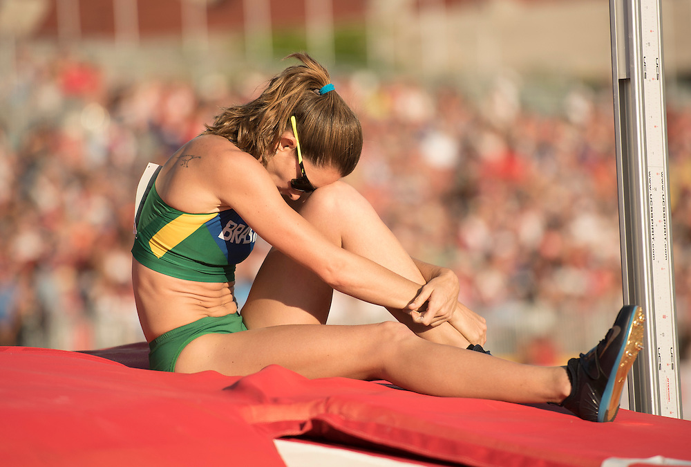 Women's pole vault: Fabiana Murer-Brazil, reacts after missing an attempt during athletics competition at the 2015 PanAm Games in Toronto.