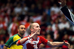 14.01.2011, Himmelstalundshallen, Norrköping, SWE, IHF Handball Weltmeisterschaft 2011, Herren, Österreich vs Brasilien, im Bild, // Austria #28 Robert Weber scores a goal // during the IHF 2011 World Men's Handball Championship match Austria vs Brazil at Himmelstalundshallen in Norrkoping, Sweden on 14/1/2011. EXPA Pictures © 2011, PhotoCredit: EXPA/ Skycam/ Michael Buch +++++ ATTENTION - ..OUT OF SWEDEN/SWE +++++