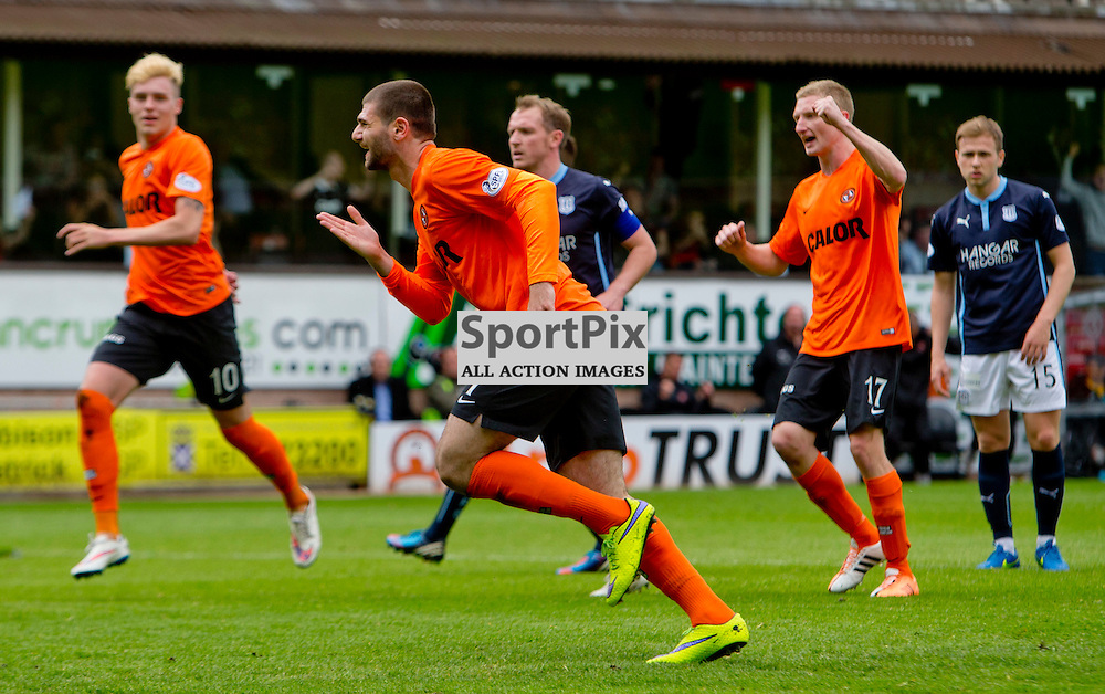 Dundee Utd v Dundee SPFL Premiership Tannadice Park 24 May 2015 <br /> Nadir Cifti celebrates the second goal<br /> CRAIG BROWN | sportPix.org.uk