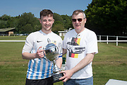 League Secretary Steve McSwiggan presents the Dundee Saturday Morning Football League Division 2 trophy to FC Boukir captain Darren Gray at University Grounds, Riverside, Dundee<br /> <br /> <br />  - &copy; David Young - www.davidyoungphoto.co.uk - email: davidyoungphoto@gmail.com