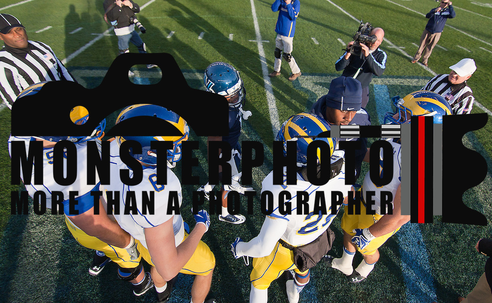 11/19/11 Chester PA: Delaware and Villanova captain meet at center field prior to the coin toss Saturday Nov. 19, 2011 at PPL Park in Chester PA...Special to The News Journal/SAQUAN STIMPSON