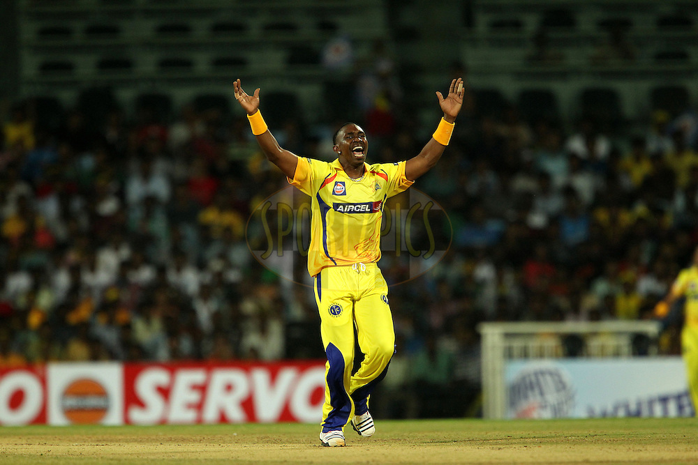 Dwayne Bravo celebrates the wicket of Ambati Rayudu during match 3 of the NOKIA Champions League T20 ( CLT20 )between the Chennai Superkings and the Mumbai Indians held at the M. A. Chidambaram Stadium in Chennai , Tamil Nadu, India on the 24th September 2011..Photo by Ron Gaunt/BCCI/SPORTZPICS