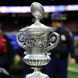 Jan 1, 2018; New Orleans, LA, USA; Detail view of the game trophy after the game between the Alabama Crimson Tide and the Clemson Tigers in the 2018 Sugar Bowl college football playoff semifinal game at Mercedes-Benz Superdome. Mandatory Credit: Derick E. Hingle-USA TODAY Sports