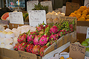 Sweet Dragon fruit and other produce for sale in a market in Chinatown, Toronto.