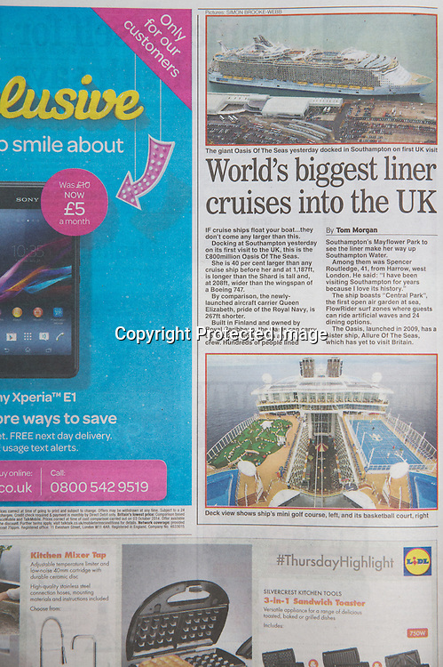 Royal Caribbean International's Oasis of the Seas Southampton visit cuttings.<br /> Daily Express161014