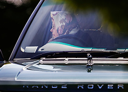 © Licensed to London News Pictures. 10/05/2017. Windsor, UK. Queen Elizabeth II is seen at the wheel of her Range Rover as she arrives at the Royal Windsor Horse Show. The five day equestrian event takes place in the grounds of Windsor Castle. Photo credit: Peter Macdiarmid/LNP