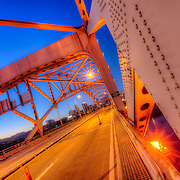 On the Broadway Bridge over the Missouri River at sunrise during a MO-169 closure in 2012.