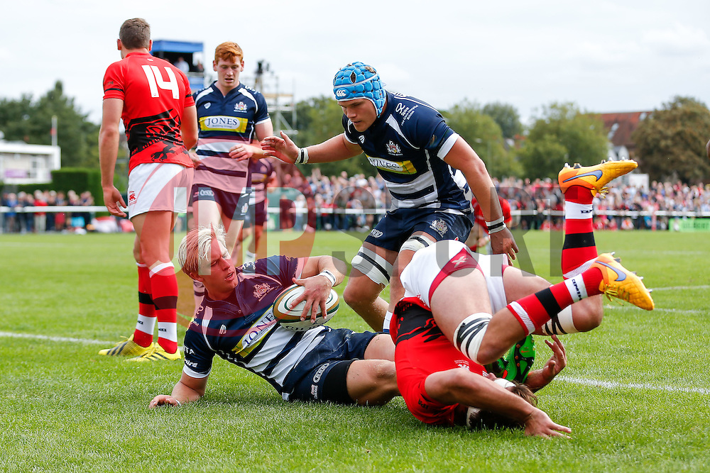 Bristol Rugby Winger Charlie Amesbury scores a try - Mandatory byline: Rogan Thomson/JMP - 07966 386802 - 13/09/2015 - RUGBY UNION - Old Deer Park - Richmond, London, England - London Welsh v Bristol Rugby - Greene King IPA Championship.