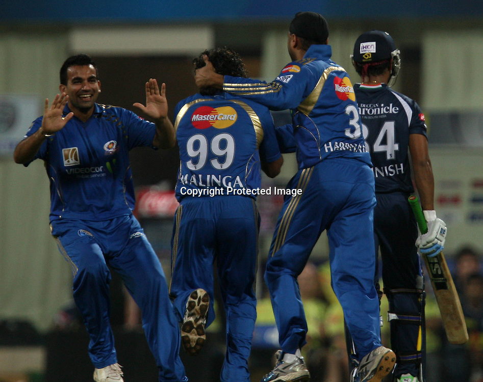 Mumbai Indians Bowler Lasith Malinga Celebrates With Team Mate  Deccan Chargers Batsman RP Singh Wicket  During The Deccan Chargers vs Mumbai Indians, 25th Twenty20 match Indian Premier League- 2009/10 season Played at Dr DY Patil Sports Academy, Mumbai 28 March 2010 - day/night (20-over match)