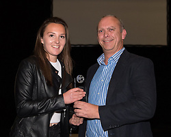 Andrew Jones, Sales and Marketing Director of 1st Office presents the Sponsor Player of the Season award to Bristol Academy midfielder Caroline Weir - Photo mandatory by-line: Paul Knight/JMP - Mobile: 07966 386802 - 11/10/2015 - Sport - Football - Bristol - Stoke Gifford Stadium - Bristol Academy WFC End of Season Awards 2015
