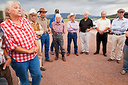 10 AUGUST 2011 - ALPINE, AZ: Ranchers from eastern Arizona and the White Mountains gather at Luna Lake to talk to New Mexico Republican Congressman Steve Pearce (not in picture) about the Wallow Fire that burned through the area earlier this summer. 2011 was the worst year in Arizona's history in terms of acres lost to wild fires and the Wallow Fire was the largest wildfire in state history.   PHOTO BY JACK KURTZ