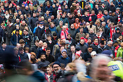 London, November 6th 2016. Football fans cascade down the stairs at the Emirates Stadium after the North London Derby between Arsenal FC and Tottenham Hotspur, that ended in a 1-1 draw.