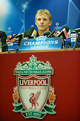 LIVERPOOL, ENGLAND - Monday, November 3, 2008: Liverpool's Dirk Kuyt during a press conference at Anfield ahead of the UEFA Champions League Group D match against Club Atletico de Madrid. (Photo by David Rawcliffe/Propaganda)