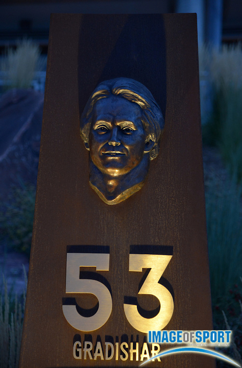 Aug 20, 2014; Denver, CO, USA; General view of the historical monument pillar of former Denver Broncos linebacker Randy Gradishar (53) at the Ring of Fame plaza at Sports Authority Field at Mile High.
