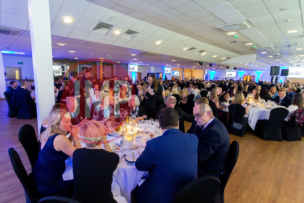 A general view of the room as guests enjoy dinner - Ryan Hiscott/JMP - 06/08/2018 - RUGBY - Sandy Park - Exeter, England - Exeter Chiefs Season Launch Dinner