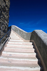 Stairway to the top of the observation tower at the summit of Mount Diablo State Park, Mt. Diablo, Contra Costa County, California, USA.