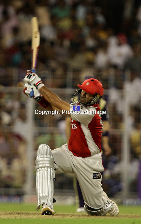 Kings XI Punjab Batsman Yuvraj Singh Hit The Shot Against Kolkata Knight Riders During The Kolkata Knight Riders vs Kings XI Punjab 34th match Twenty20 match | 2009/10 season Played at Eden Gardens, Kolkata <br />